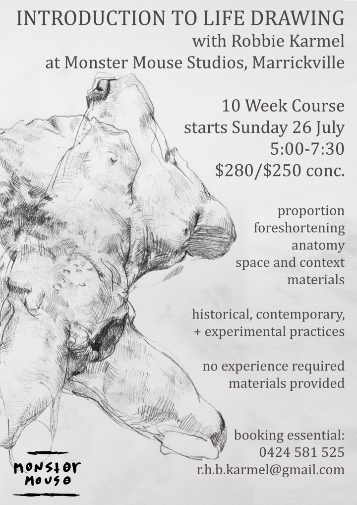 intro to life drawing flier